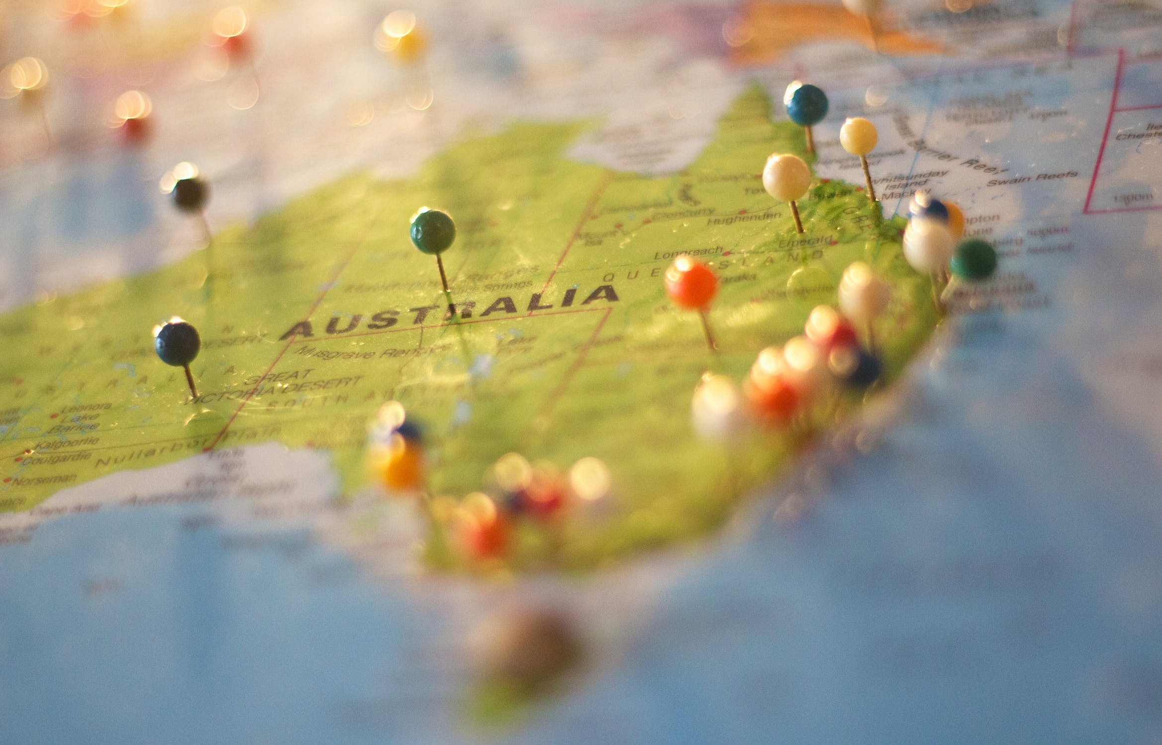 Places I Want To Visit - Map of Australia with pins stuck into it