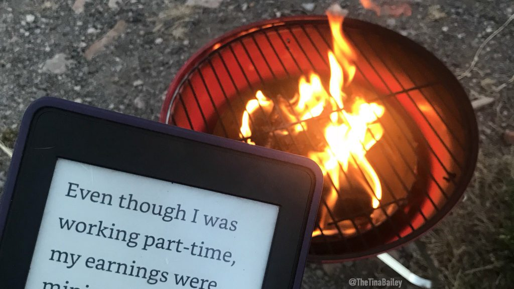camping - campfire and kindle
