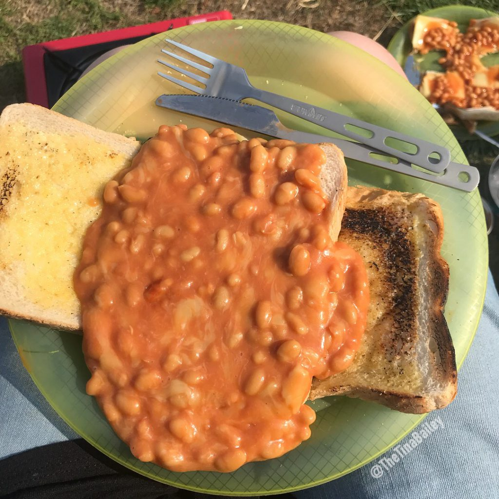 camping beans on toast
