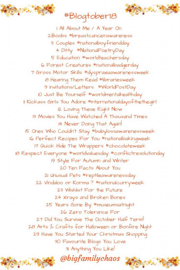 Blogtober list