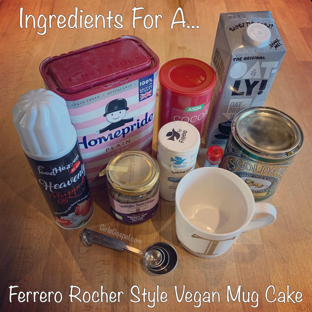 Ingredients Required For a Ferrero Rocher style vegan mug cake
