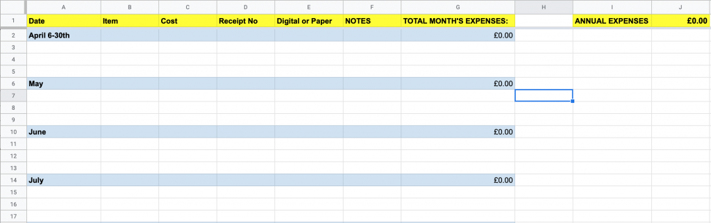 income and expenses templates - EXPENSES