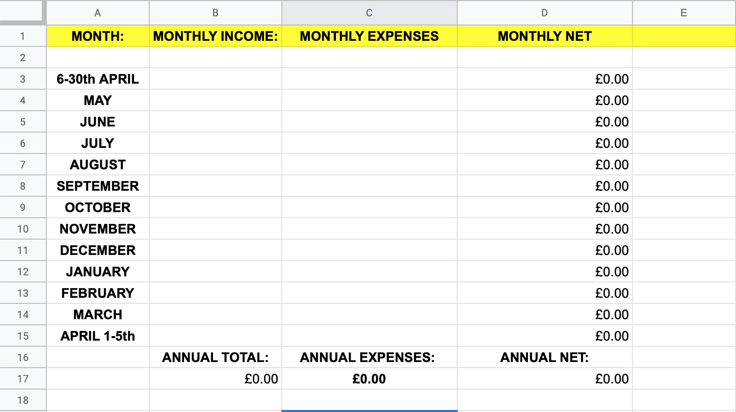 income and expenses templates - NET PROFIT