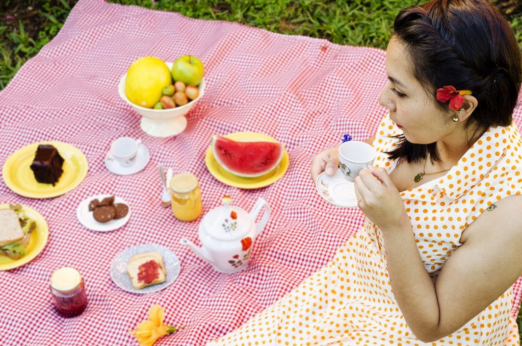 happier and healthier 2019 - picnic blanket covered in food