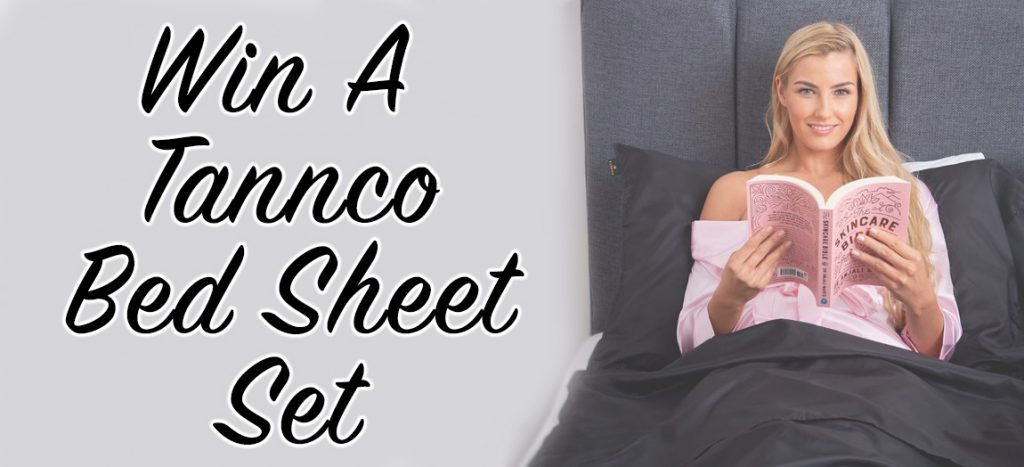 Tannco bed sheet giveaway banner pic - woman in bed reading
